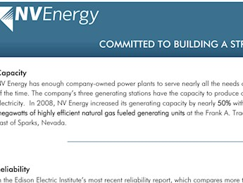 Northern Nevada Utilities Overview - NV Energy