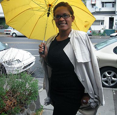 Andrea L. Tyrell with a Yellow Umbrella
