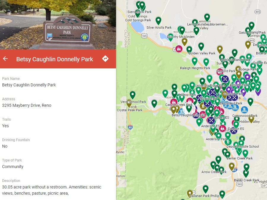 Interactive Truckee Meadows Park Map